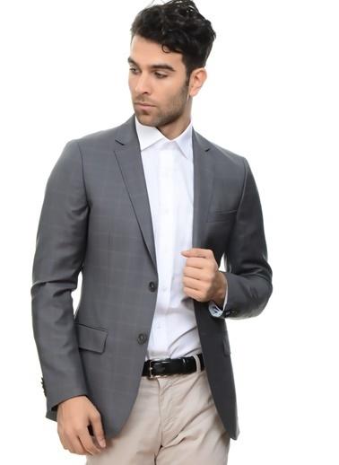 Cotton Bar Iki Düğmeliiçi Astarlı Kare Desenli Erkek Ceket Gri